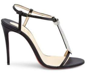 Christian Louboutin T Cab 100 Embellished Satin Sandals