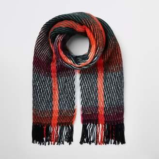 River Island Womens Green stripe fluffy scarf