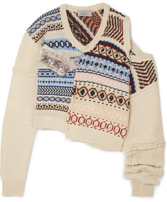 Preen by Thornton Bregazzi Cutout Distressed Fair Isle Wool Sweater - Ivory