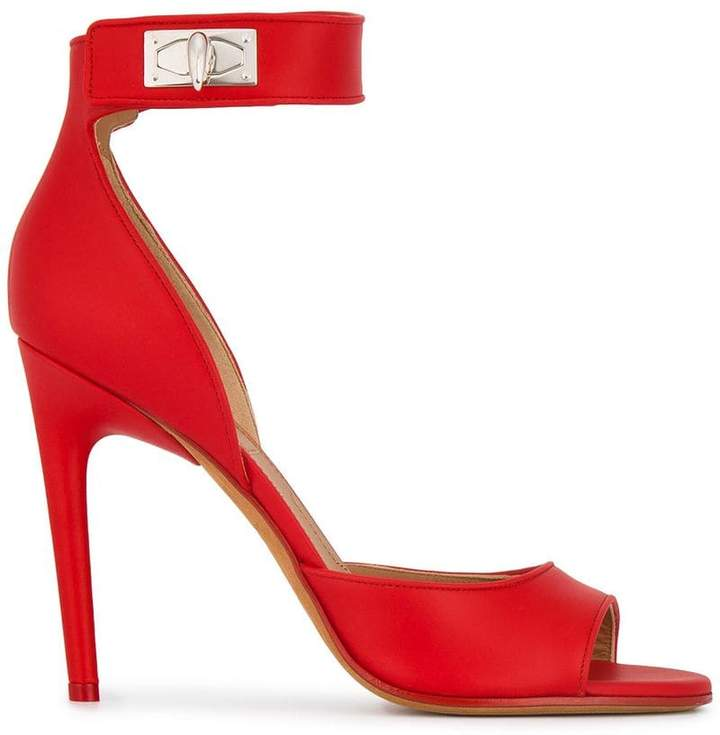 Givenchy Red Leather Shark Lock 105 sandals