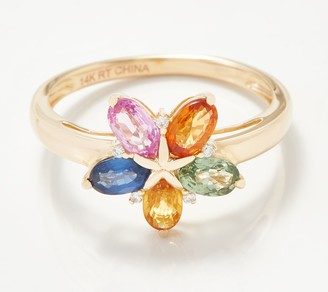 14K Gold Colors of Sapphire & Diamond Ring, 1.25 cttw