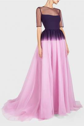 Georges Hobeika Short Sleeve Tulle Gown