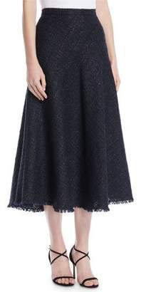 Escada A-Line Metallic Tweed Midi Circle Skirt