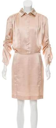 John Galliano Long Sleeve Knee-Length Dress