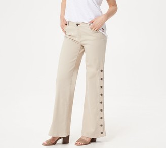 Peace Love World Petite Garment Dyed Side Button Jean