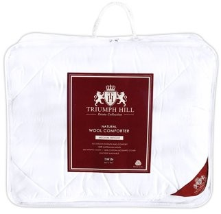 Triumph Hill 100% Australian Wool 100% Jacquard Cotton Case Medium Weight Winter Bed Comforter Twin Size Machine Washable