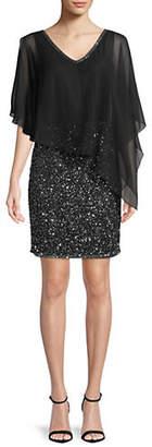J Kara Beaded Popover Sheath Dress