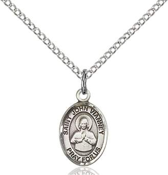 "St. John F A Dumont Sterling Silver Vianney Pendant with 18"" Stainless Steel Lite Curb Chain. Patron Saint of Confessors/Priests"