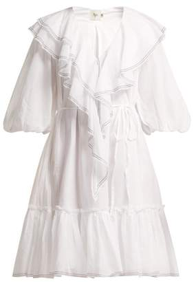 Aje - Balloon Sleeved Ruffled Cotton Dress - Womens - White