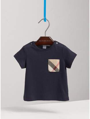 Burberry Check Pocket Cotton T-shirt