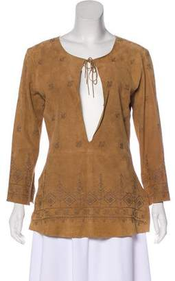 Joie Leather Long Sleeve Top w/ Tags