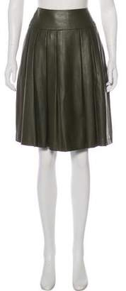 Chanel Leather Pleated Skirt