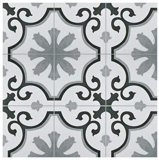 "EliteTile Nouvelle 12.38"" x 12.38"" Ceramic Field Tile in Gray/White"