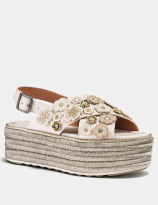 Coach Espadrille Sandal With Tea Rose