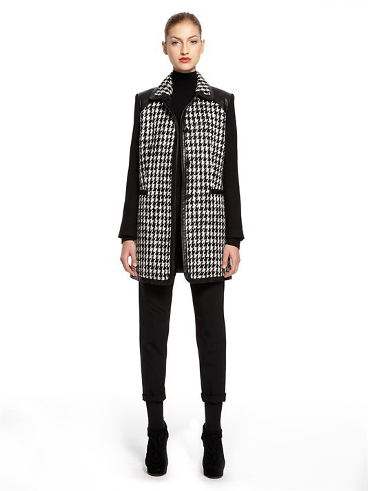DKNY Houndstooth Tweed L/S Jacket With Wool Twill Sleeves And Leather Trim