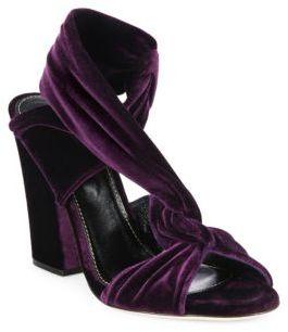 Sergio RossiSergio Rossi Moulage Velvet Block Heel Sandals