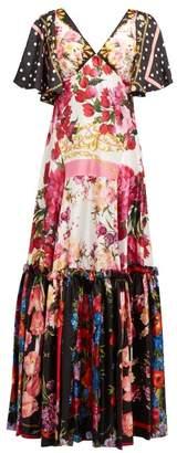 Dolce & Gabbana Scarf & Polka Dot Print Silk Charmeuse Gown - Womens - Multi