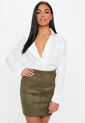 Missguided Faux Suede Mini Skirt Khaki