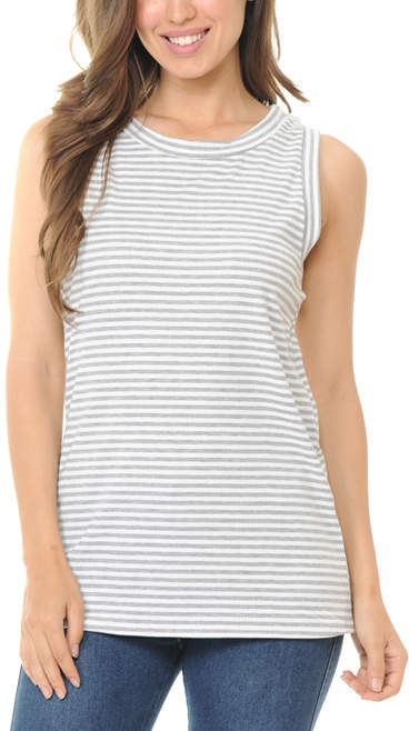 Ivory & Gray Stripe Tank - Women