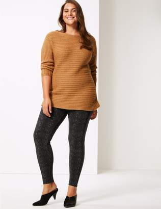 Marks and Spencer CURVE Animal Print Cotton Rich Leggings
