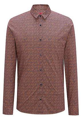 HUGO BOSS Extra-slim-fit cotton shirt with graphic pigment print
