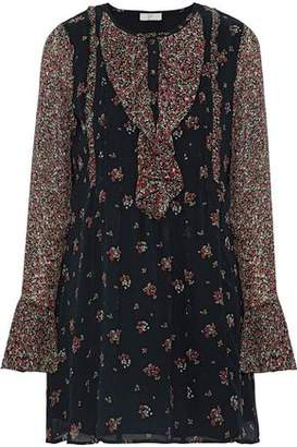 Joie Amaryn Ruffled Floral-Print Silk Crepe De Chine Mini Dress