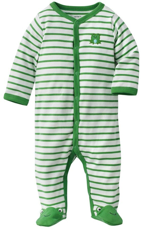 Carter's striped frog footed pajamas - baby