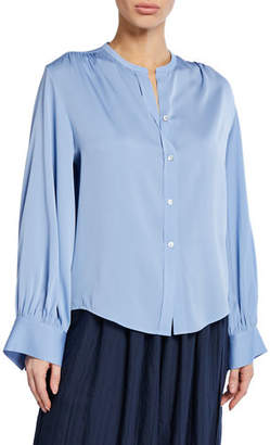 Vince Long-Sleeve Button-Front Shirred-Back Blouse