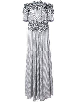 Zac Posen Maia floral embroidered striped gown