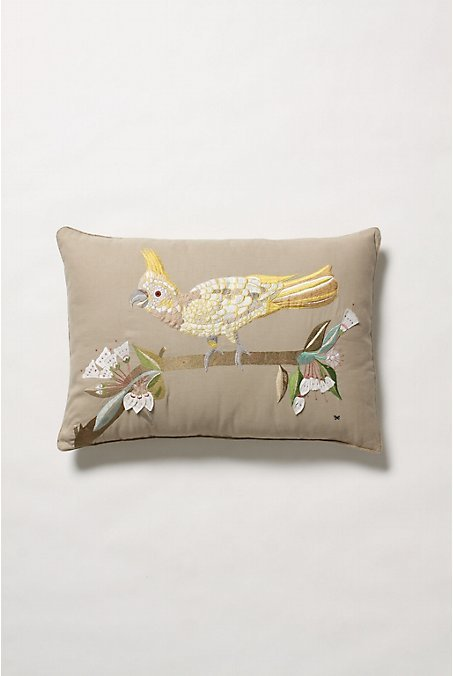 Embroidered Cockatoo Pillow