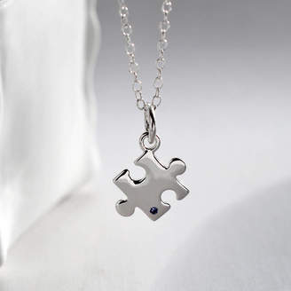Lily Charmed Silver Jigsaw Puzzle Necklace With Sapphire
