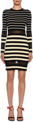 Off-White Off White Long-Sleeve Sheer Striped Bodycon Dress