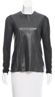 Helmut Lang Leather Paneled Long Sleeve Top
