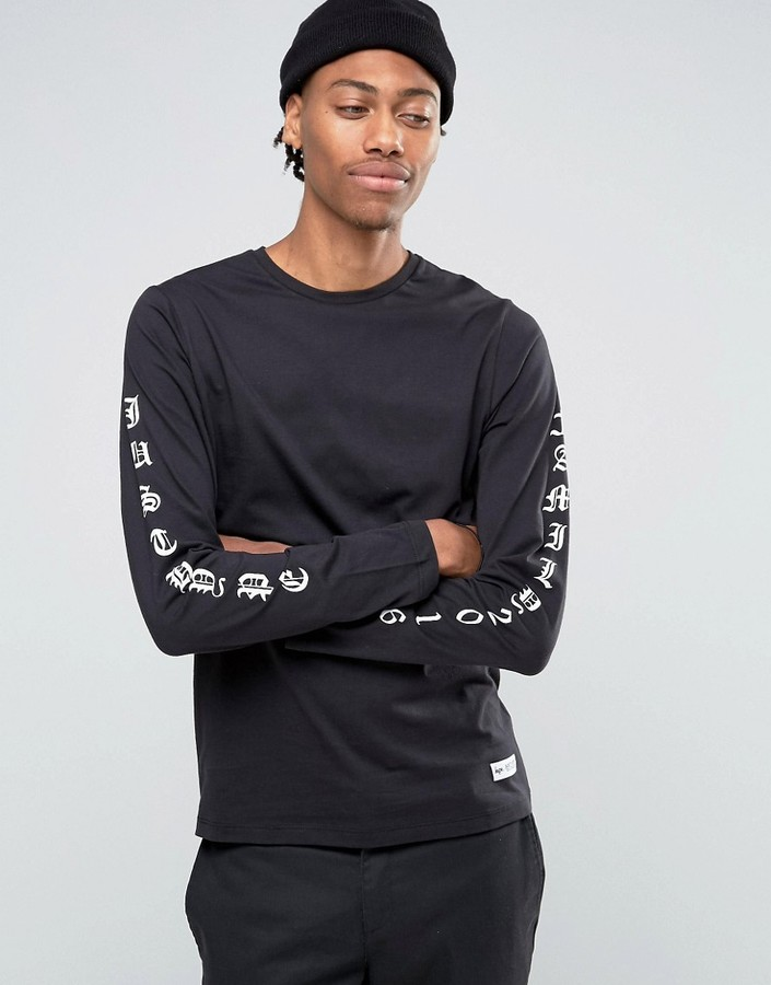 Hype Long Sleeve T Shirt With Arm Print Men