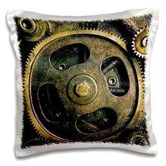 3dRose Steam punk gears in bronze realistic look fun art - Pillow Case, 16 by 16-inch