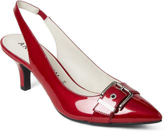 Anne Klein Red Fenris Slingback Pumps
