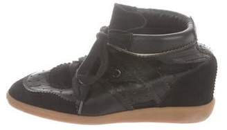 Etoile Isabel Marant Leather High-Top Wedge Sneakers