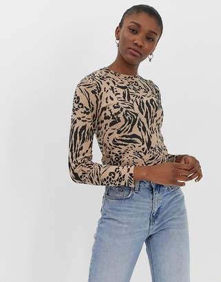 Asos Design DESIGN crew neck jumper in mixed animal