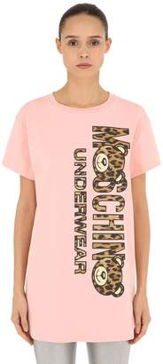 Moschino Leopard Bear Cotton Jersey Maxi T-Shirt