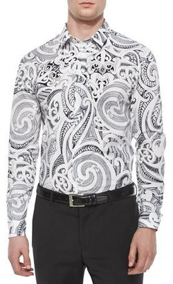 Versace Collection Baroque-Print Long-Sleeve Shirt, White/Black $495 thestylecure.com