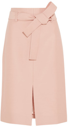 J.Crew - Collection Leslie Wool And Silk-blend Faille Skirt - Blush $600 thestylecure.com