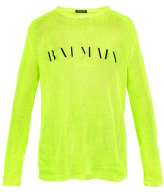 Balmain Distressed Logo Embroidered Striped Sweater - Mens - Yellow