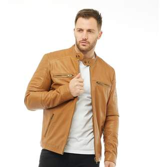 Onfire Mens Leather Jacket Tan
