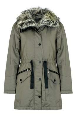 Quiz Khaki Fur Lined Collar Parka Jacket