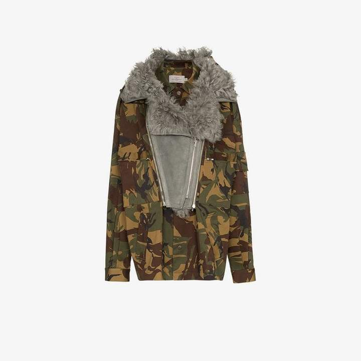 Dree shearling collar camouflage cotton blend jacket