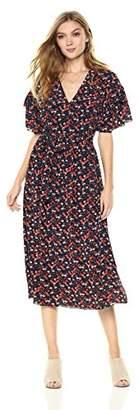 Ella Moon Women's Sicily Ruffle Sleeve Midi Wrap Dress