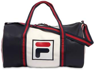 Color Block Logo Faux Leather Duffle Bag