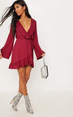 PrettyLittleThing Snake Printed Jersey Frill Detail Flare Sleeve Wrap Dress
