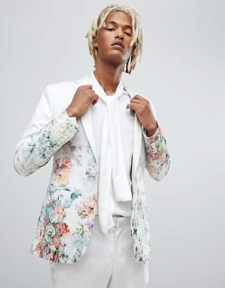 Asos Design DESIGN skinny suit jacket in floral printed white jacquard