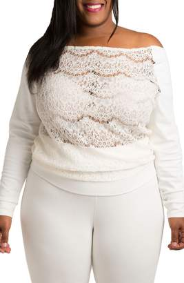 Justice Poetic Lace & Ponte Knit Top